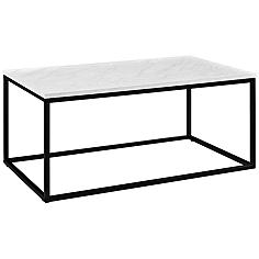 Adeline Faux White Marble Top and Metal Coffee Table