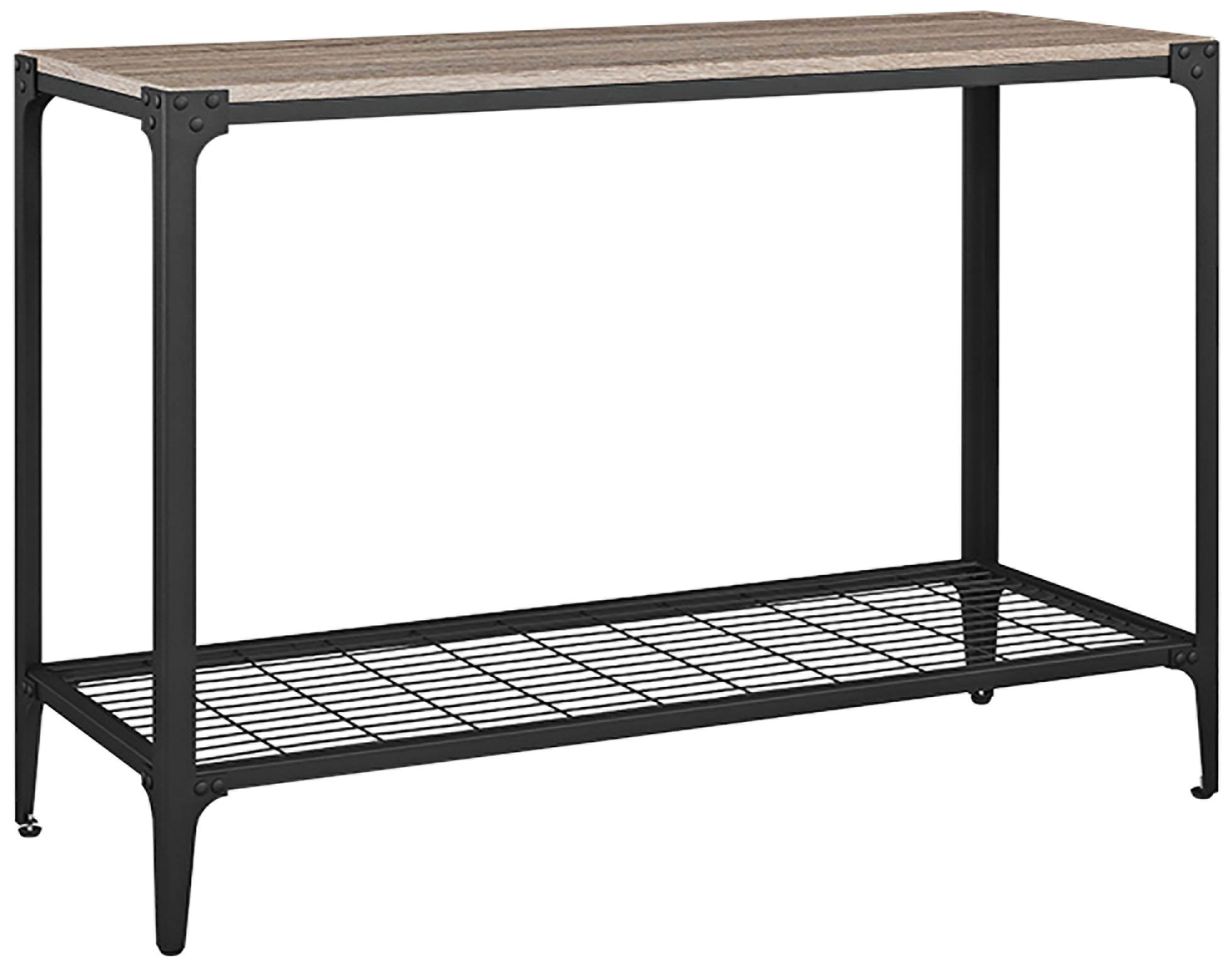 Delicieux Angle Iron Gray Driftwood Top And Metal Sofa Entry Table