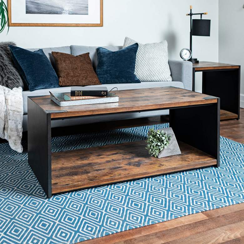 "Webster 48"" Wide Brown Wood and Steel Plate Coffee Table"