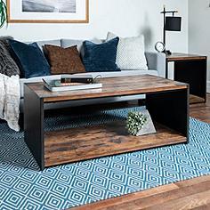 Webster Brown Wood and Steel Plate Coffee Table