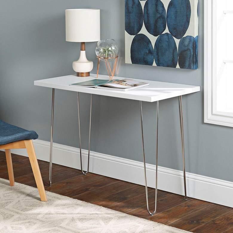 "Fargo 42"" Wide White Wood Modern Writing Desk"