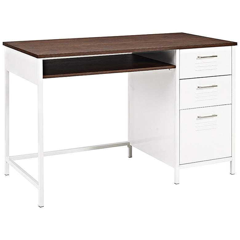 "Locker 48"" Wide Wood and White Metal 3-Drawer Modern Desk"