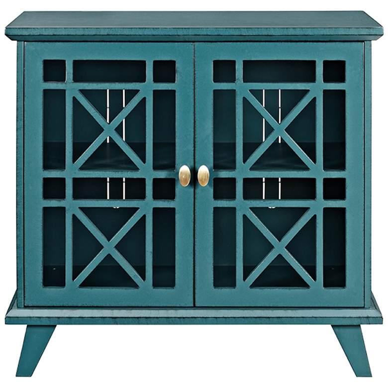 "Gwen 32"" Wide Fretwork Blue Wood 2-Door Accent Console"