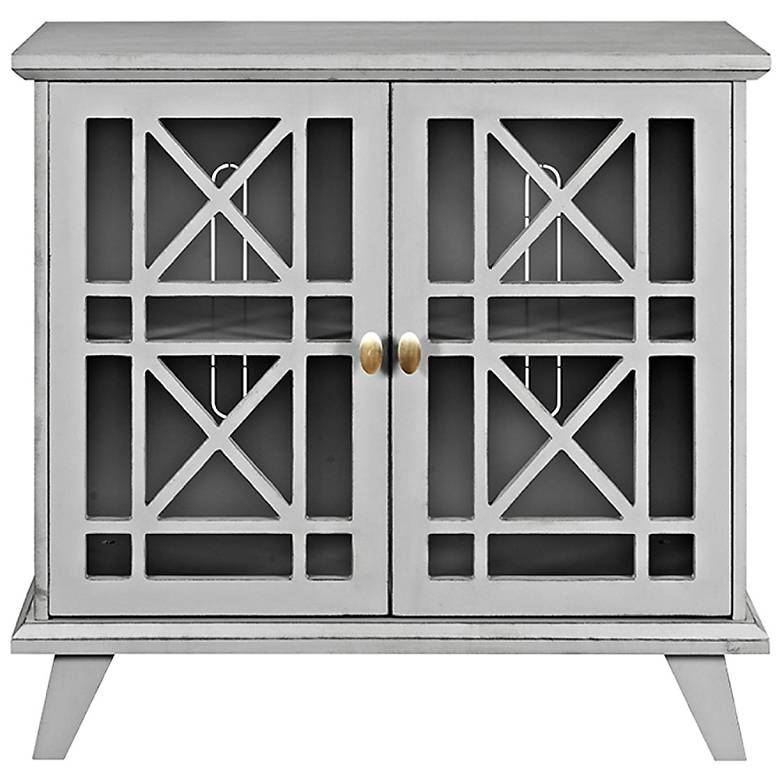"Gwen 32"" Wide Fretwork Gray Wood 2-Door Accent Console"