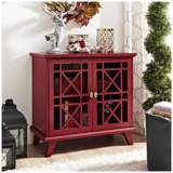 Gwen Fretwork Red Wood 2-Door Accent Console