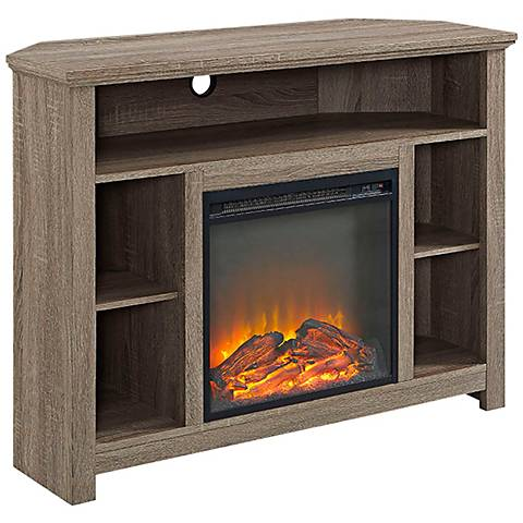 Essential Gray Driftwood Corner Fireplace TV Stand