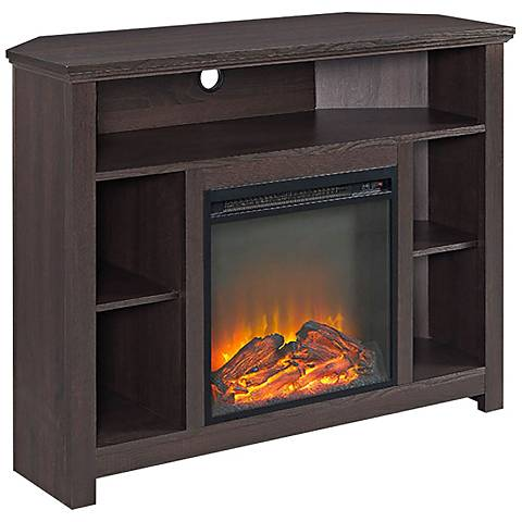 Essential Espresso Wood Corner Fireplace TV Stand