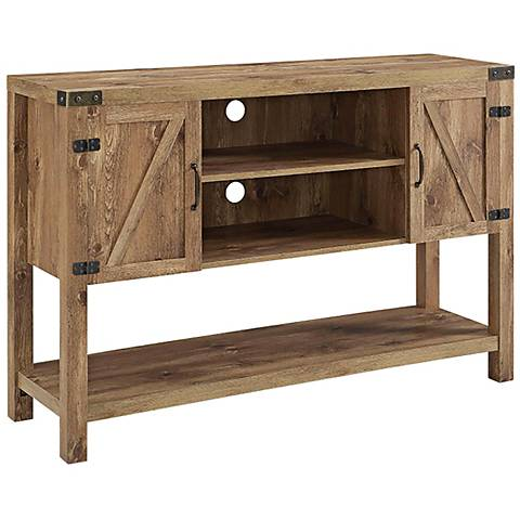 Barn Door Brown Barnwood 2-Door Buffet TV Stand