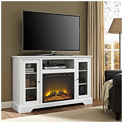 Highboy White Wood 2-Door Fireplace TV Stand Console