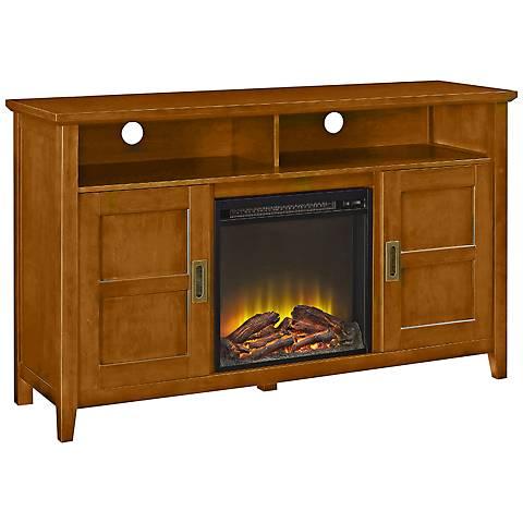 Rustic Chic Acorn Wood 2-Door Fireplace TV Stand