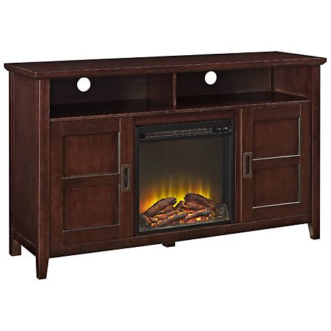 Rustic Chic Coffee Wood 2-Door Fireplace TV Stand