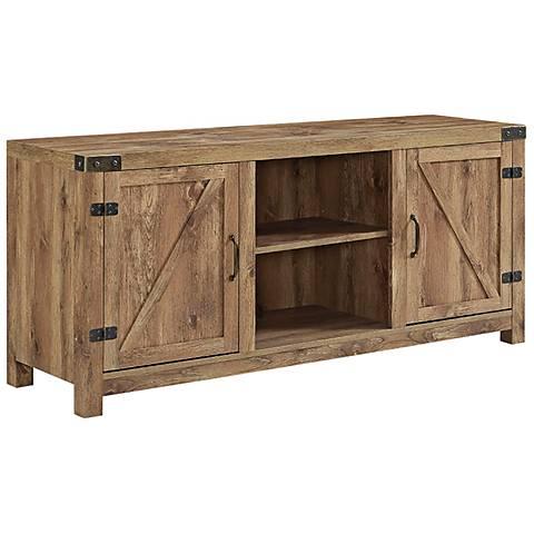 Barn Door Brown Barnwood 2-Door TV Stand