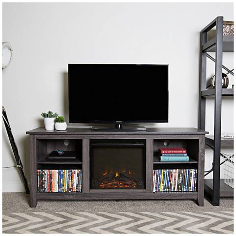 Everett Charcoal Gray Wood Fireplace TV Stand