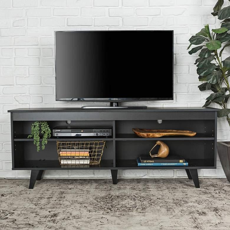 "Jones 58"" Wide Black Wood Modern TV Media Console"