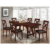 Trestle Espresso Wood 7-Piece Dining Table and Chair Set