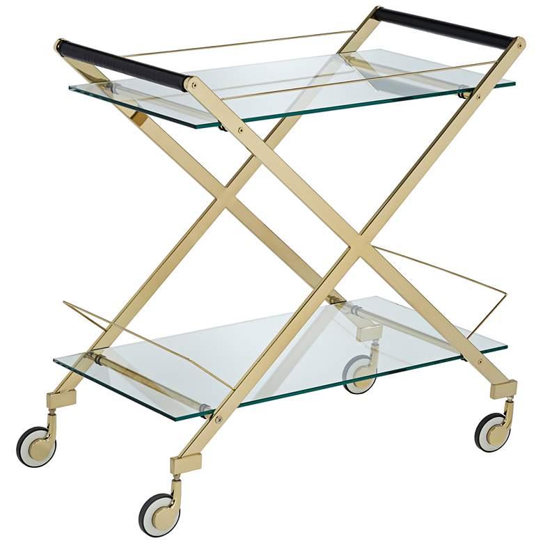 "Bermuda 31 1/2"" Wide Gold 2-Shelf Rolling Bar Cart"