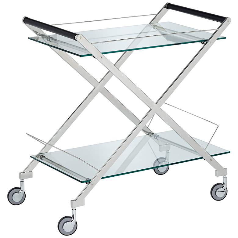 "Bermuda 31 1/2"" Wide Silver 2-Shelf Rolling Bar Cart"