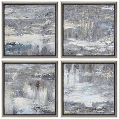 "Shades of Gray 33 1/4"" Square 4-Piece Canvas Wall Art Set"