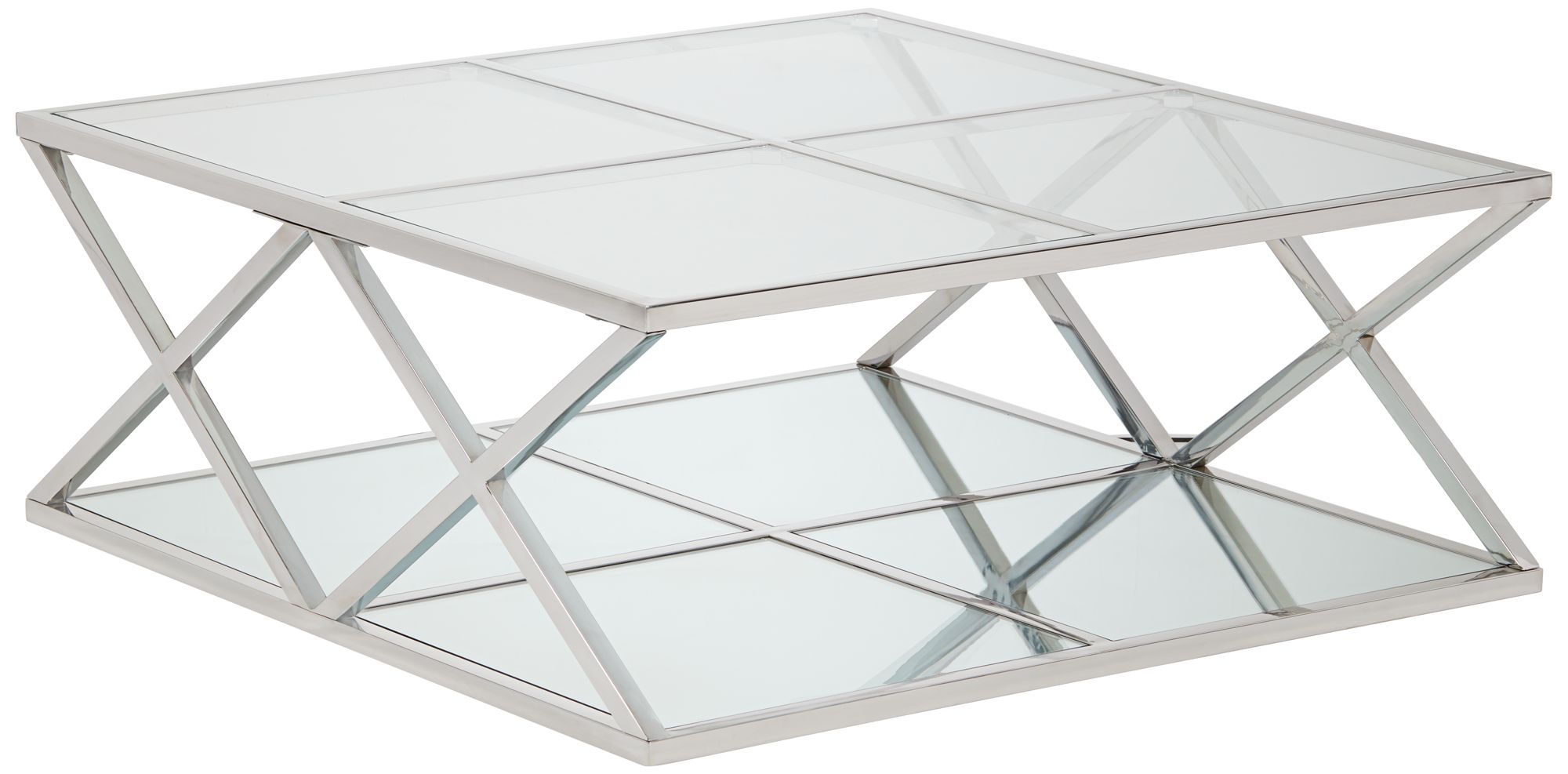 Captivating Skylar Square Metal Coffee Table With Mirror Top