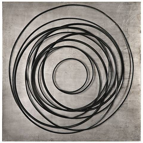"""Uttermost Whirlwind 36 1/2"""" Square Black Metal Wall Art"""
