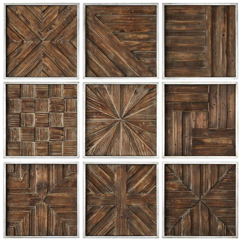Uttermost Bryndle 12 1 2 Square 9 Piece Wood Wall Art Set