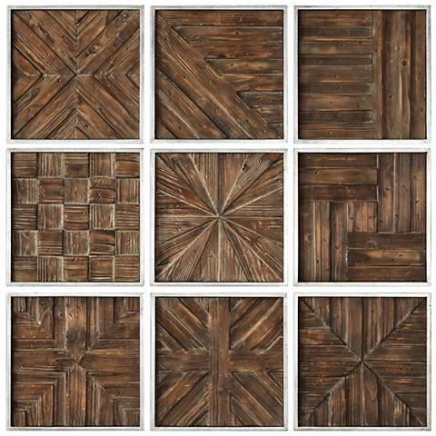 "Uttermost Bryndle 12 1/2"" Square 9-Piece Wood Wall Art Set"