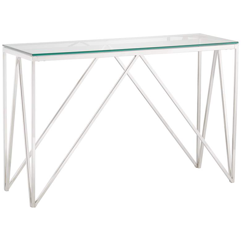 """Luxor 47 1/4"""" Wide Chrome and Glass Modern Console Table"""