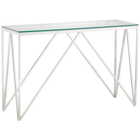 Luxor Chrome Rectangular Metal Console Table