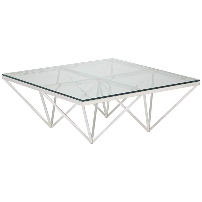 """Luxor 41 1/2"""" Square Chrome and Glass Modern Coffee Table"""