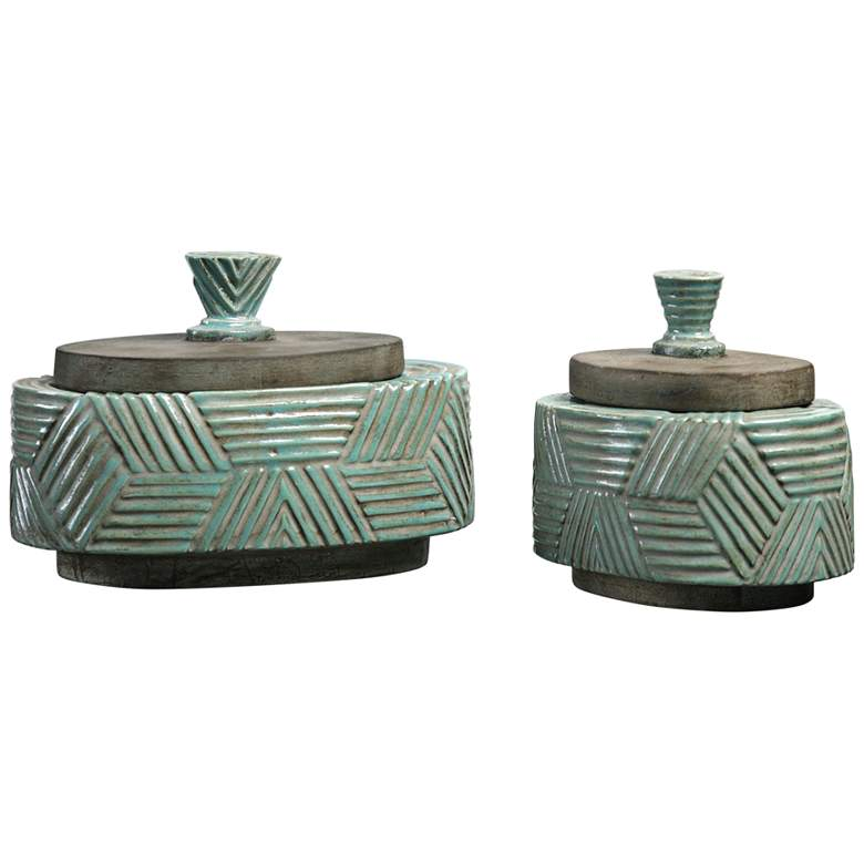 Uttermost Ruth Blue and Green 2-Piece Ceramic Boxes Set