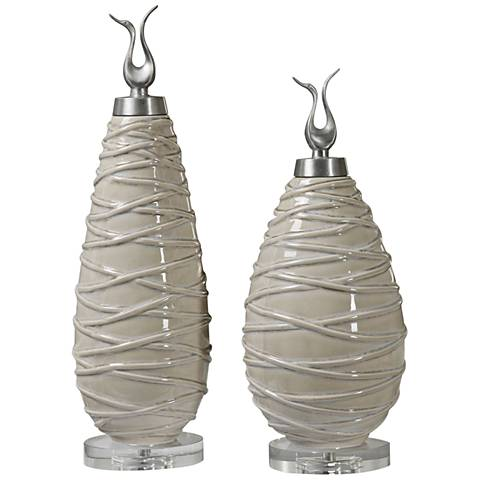 Uttermost Romeo Tan 2-Piece Ceramic Decorative Bottle Set