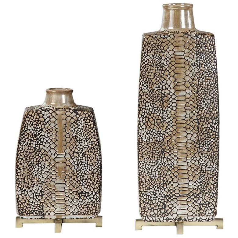 Uttermost Reptila Brown and Ivory 2-Piece Ceramic Vase Set