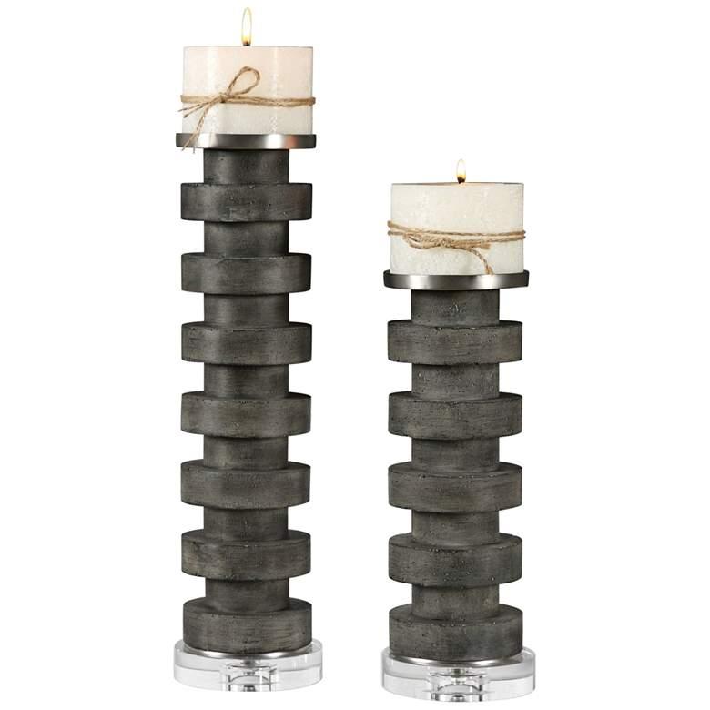 Karun Charcoal Concrete 2-Piece Pillar Candle Holder Set