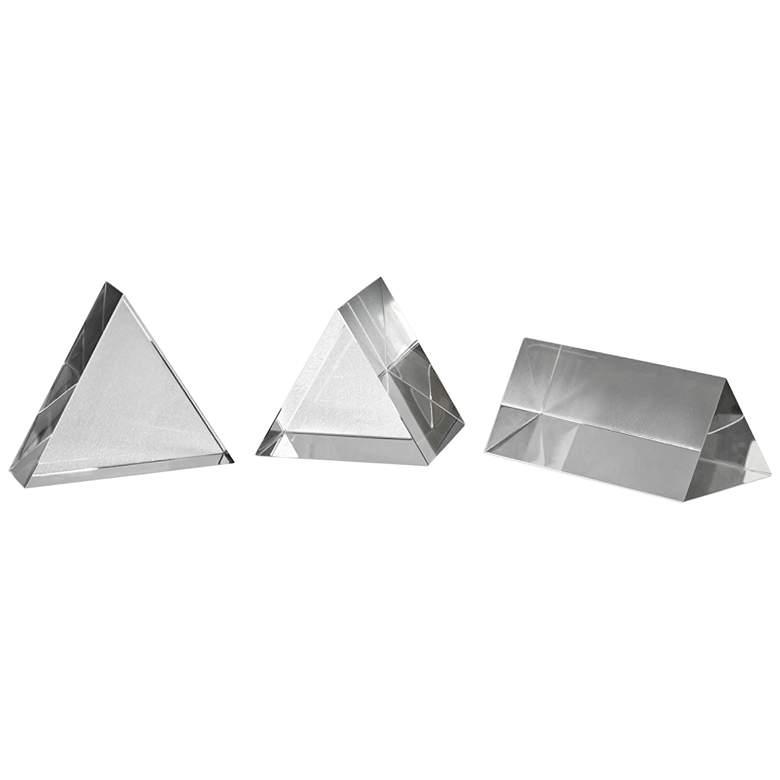 Uttermost Triangle Trio 3-Piece Crystal Pillar Set