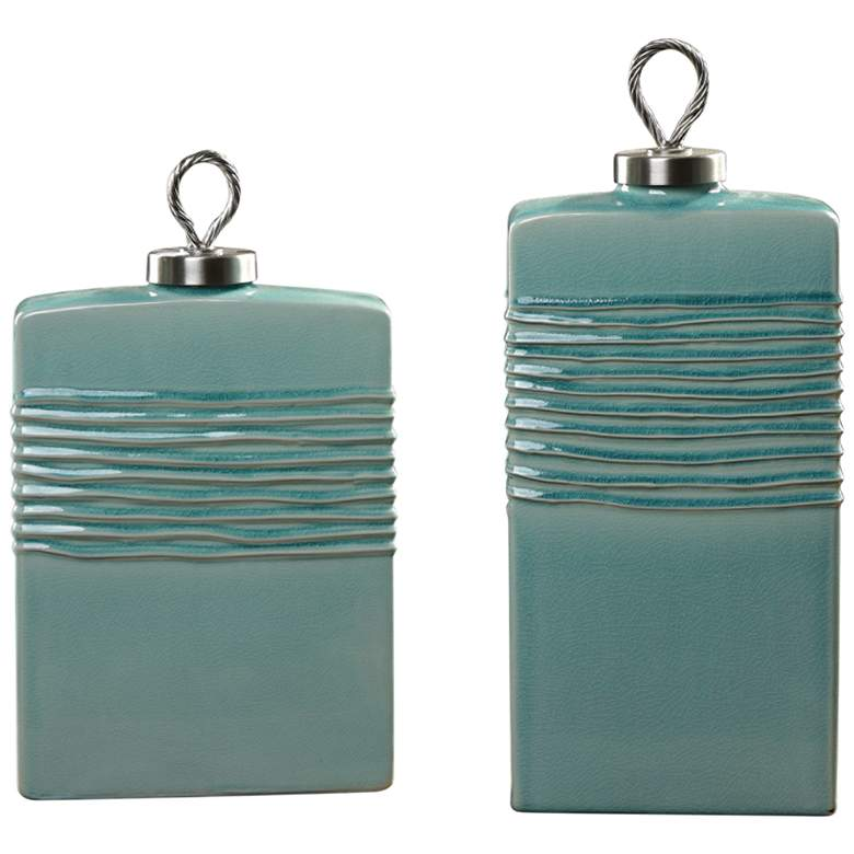 Rewa Green Modern Ceramic Containers - Set of 2 by Uttermost
