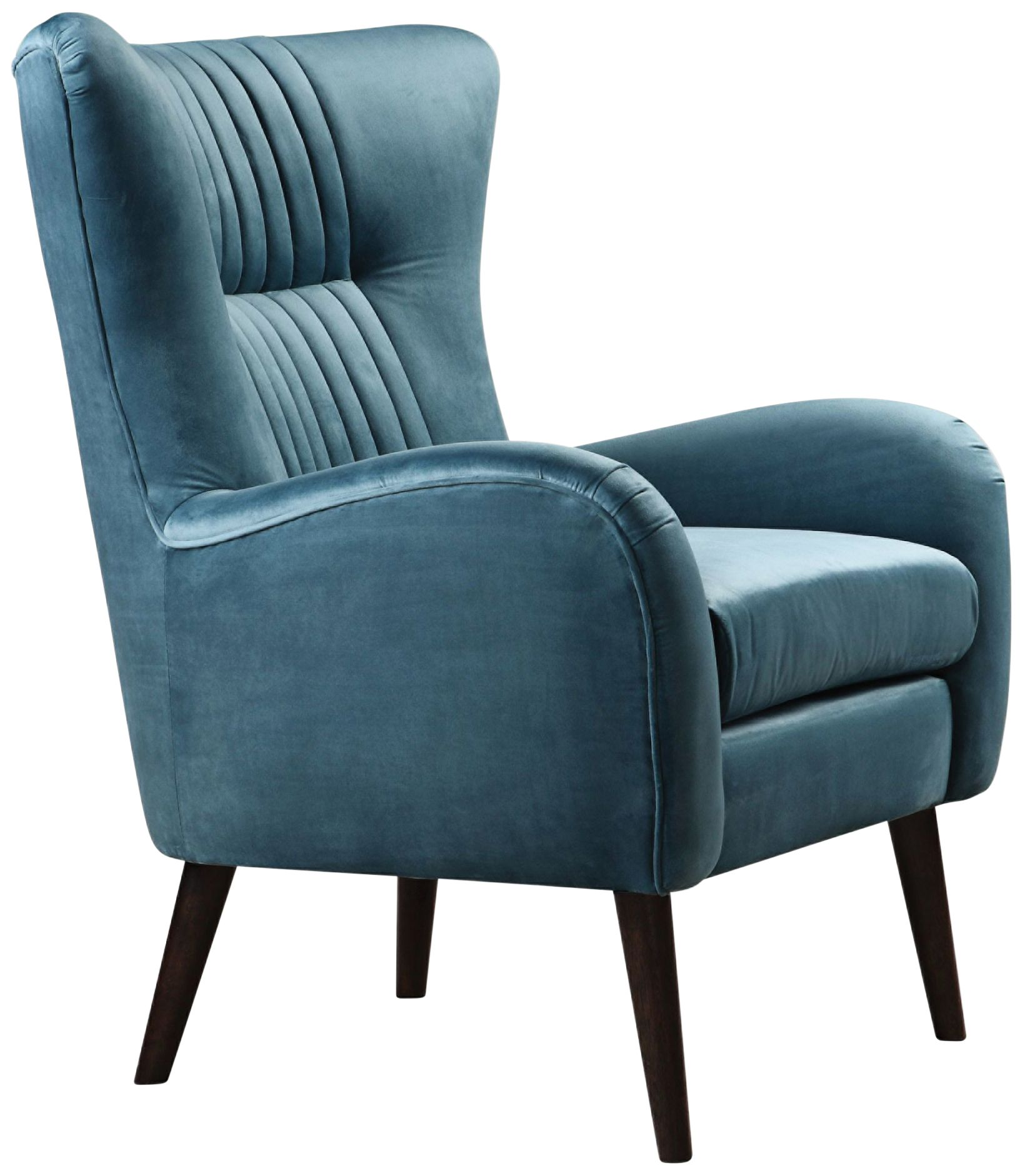 Uttermost Dax Teal Blue Velvet Tufted Accent Chair