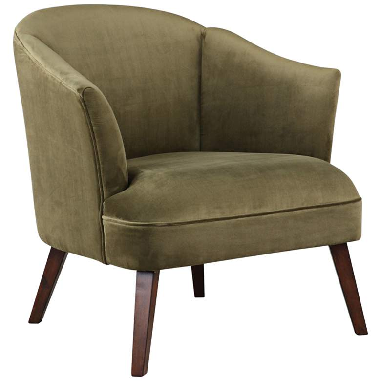 Uttermost Conroy Soft Olive Velvet Fabric Accent Chair