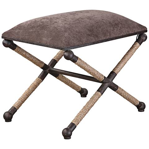 Uttermost Evert Taupe Brown Linen Accent Stool