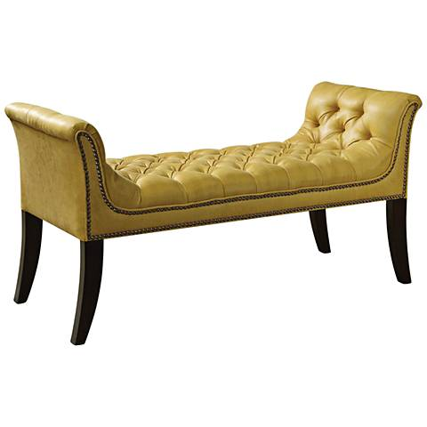 Uttermost Henning Mustard Fabric Tufted Bench