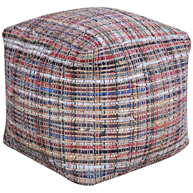 Nyala Multi-Color Recycled Leather and Hemp Pouf Ottoman