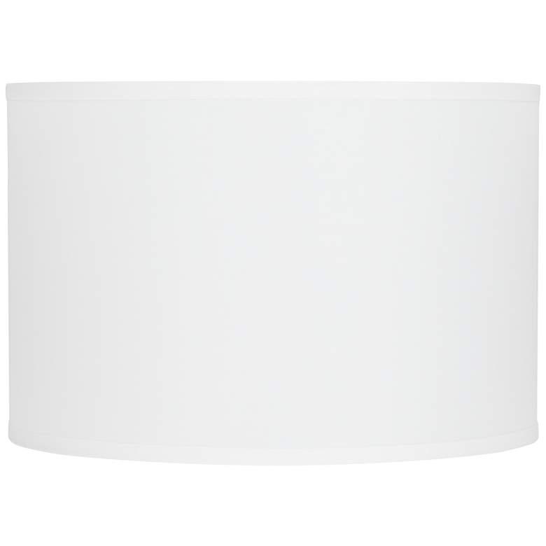 """31D17 - 15x15x10"""" H White sandstone linen Drum Shade"""