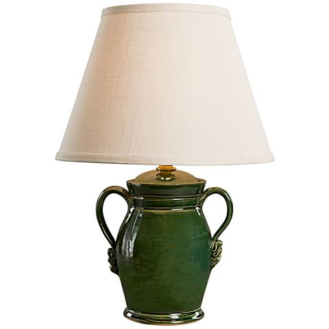 Athens Sage Gloss Ceramic Accent Table Lamp