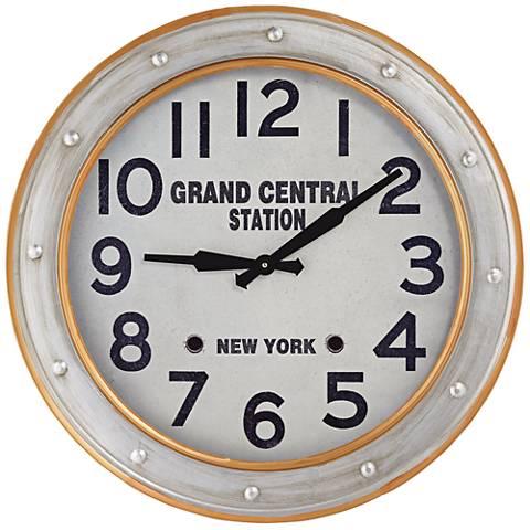 """Orange Rings 24"""" Round Modern Metal Wall Clock"""