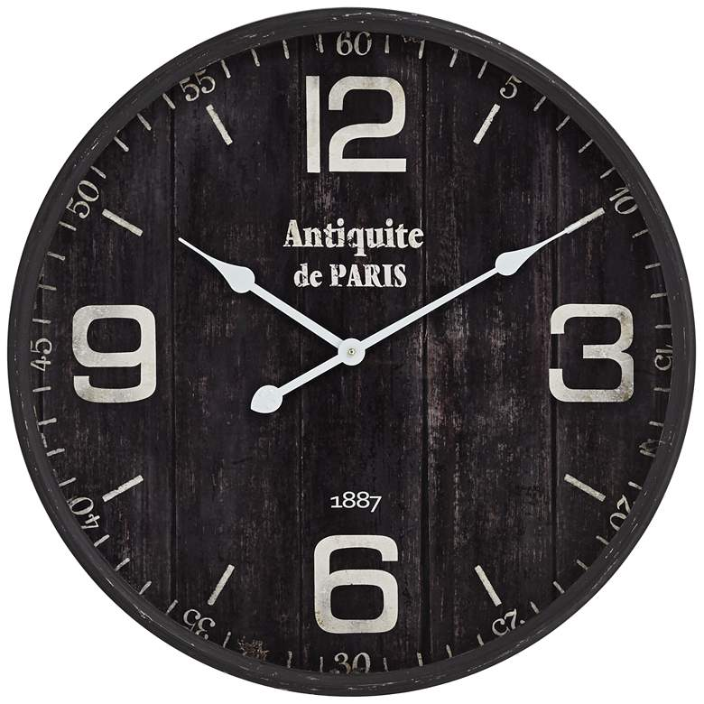 "Antiquite de Paris 23 1/2"" Brown Round Metal Wall Clock"