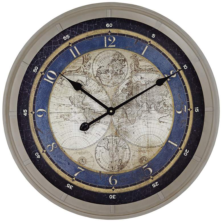 "Navigator 23 1/2"" Round World Map Wall Clock"