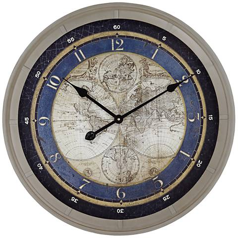 """Blue Astronomy Map 23 1/2"""" Round Metal Wall Clock"""