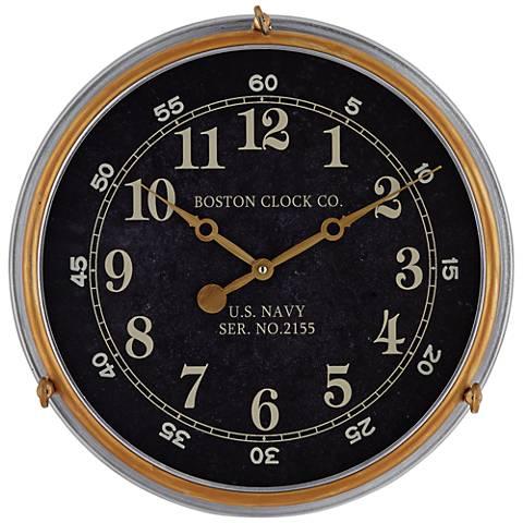 "Boston 17 1/2"" Metal US Navy Replica Wall Clock"