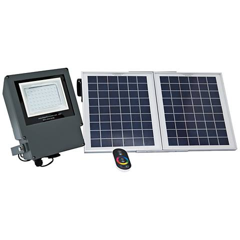 """Cass 8 1/2"""" High Gray Solar Color Changing LED Flood Light"""