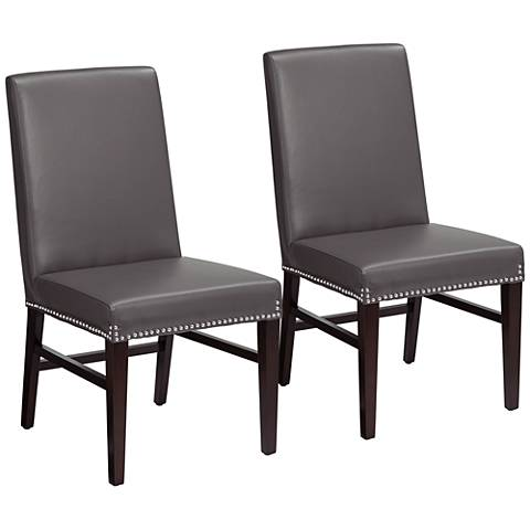 Brooke Gray Bonded Leather Dining Chair Set of 2