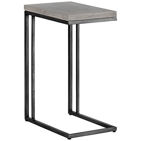 Sawyer C Shape Concrete Outdoor End Table